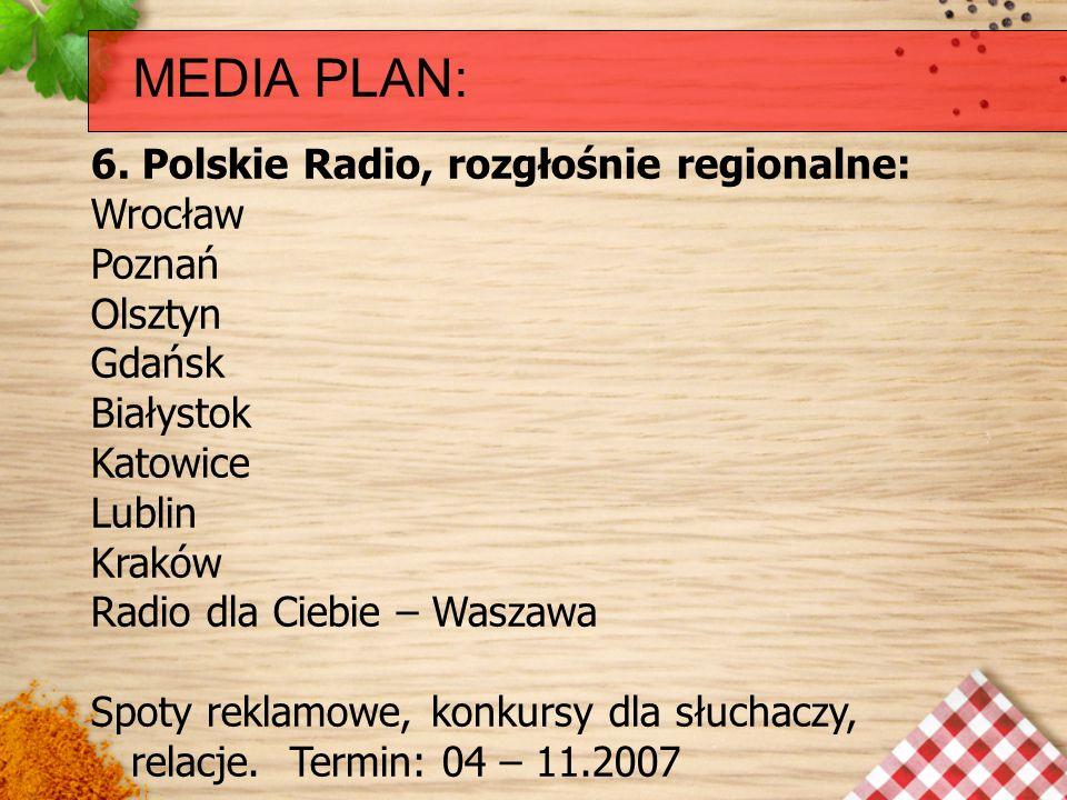 MEDIA PLAN: 6. Polskie Radio, rozgłośnie regionalne: Wrocław Poznań Olsztyn Gdańsk Białystok Katowice Lublin Kraków Radio dla Ciebie – Waszawa Spoty r