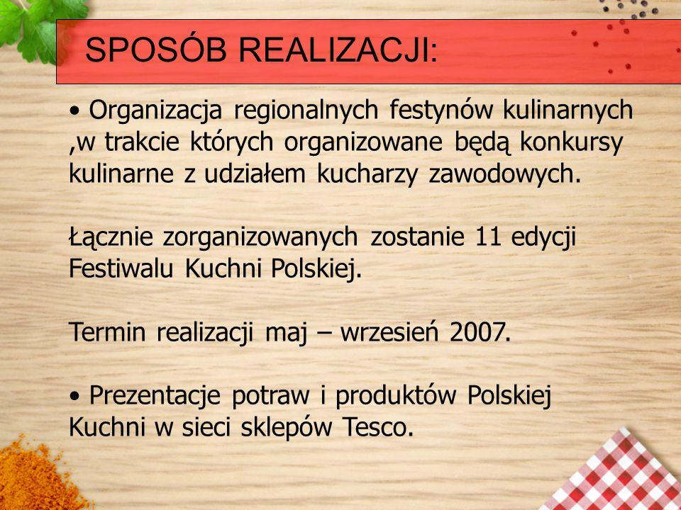 SPOSÓB REALIZACJI: Organizacja regionalnych festynów kulinarnych,w trakcie których organizowane będą konkursy kulinarne z udziałem kucharzy zawodowych