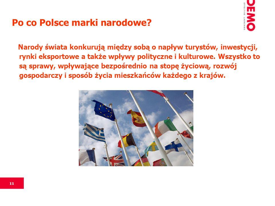 11 Po co Polsce marki narodowe? Narody świata konkurują między sobą o napływ turystów, inwestycji, rynki eksportowe a także wpływy polityczne i kultur
