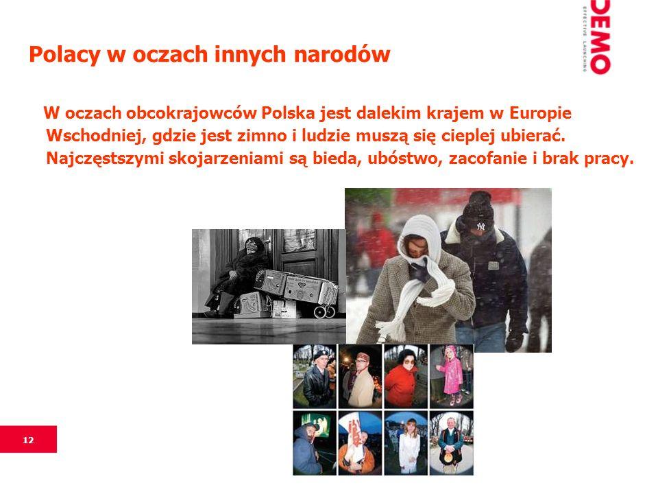 12 Polacy w oczach innych narodów W oczach obcokrajowców Polska jest dalekim krajem w Europie Wschodniej, gdzie jest zimno i ludzie muszą się cieplej ubierać.