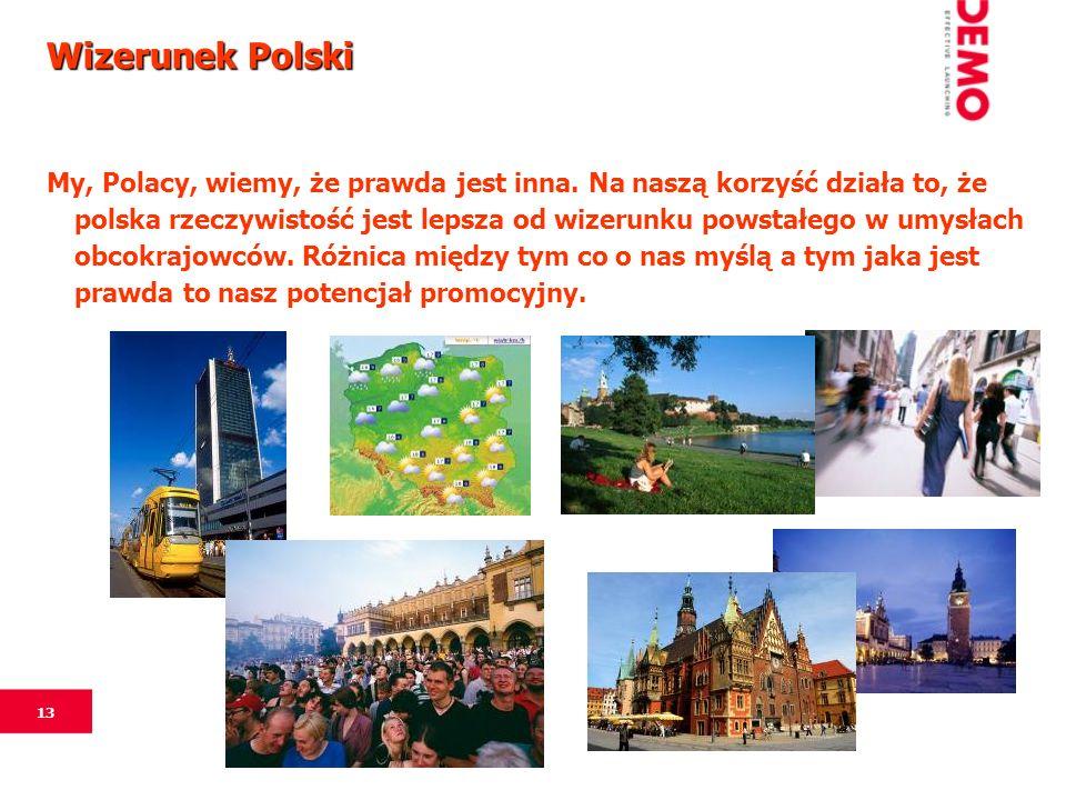13 Wizerunek Polski My, Polacy, wiemy, że prawda jest inna. Na naszą korzyść działa to, że polska rzeczywistość jest lepsza od wizerunku powstałego w