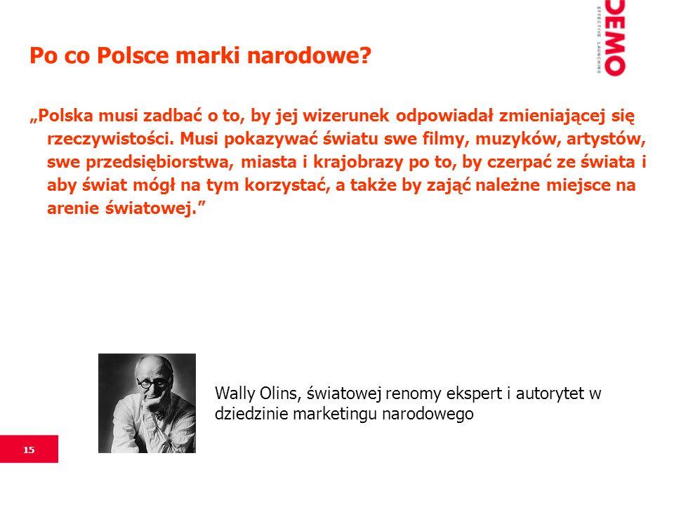 15 Po co Polsce marki narodowe? Polska musi zadbać o to, by jej wizerunek odpowiadał zmieniającej się rzeczywistości. Musi pokazywać światu swe filmy,