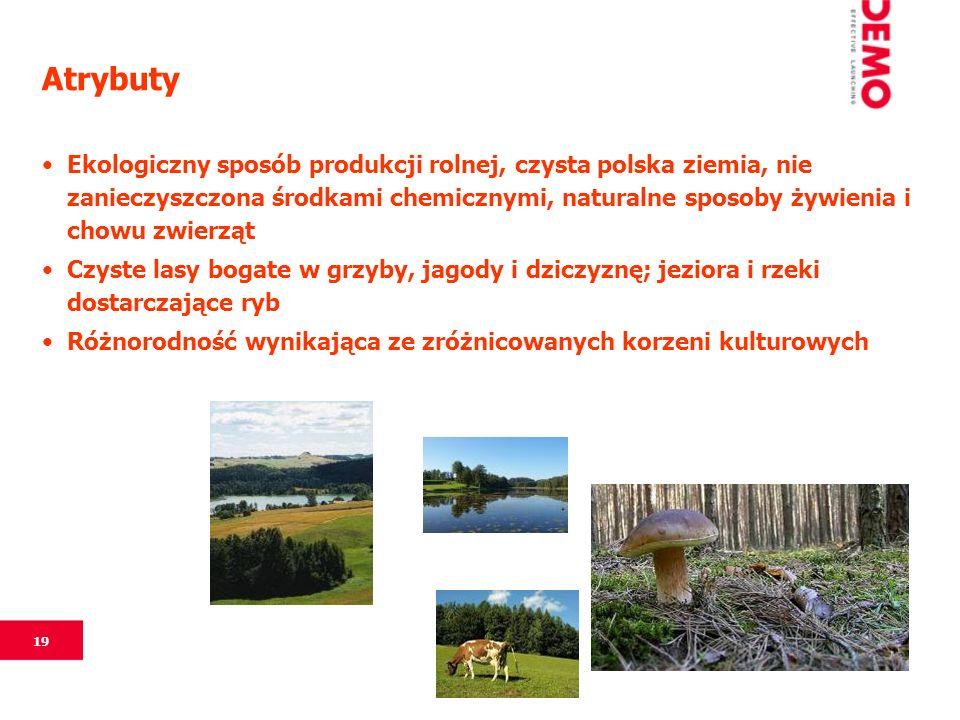 19 Atrybuty Ekologiczny sposób produkcji rolnej, czysta polska ziemia, nie zanieczyszczona środkami chemicznymi, naturalne sposoby żywienia i chowu zwierząt Czyste lasy bogate w grzyby, jagody i dziczyznę; jeziora i rzeki dostarczające ryb Różnorodność wynikająca ze zróżnicowanych korzeni kulturowych