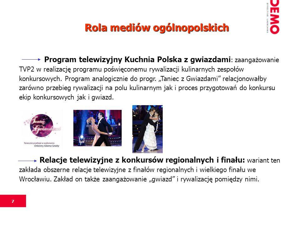 7 Program telewizyjny Kuchnia Polska z gwiazdami : zaangażowanie TVP2 w realizację programu poświęconemu rywalizacji kulinarnych zespołów konkursowych.
