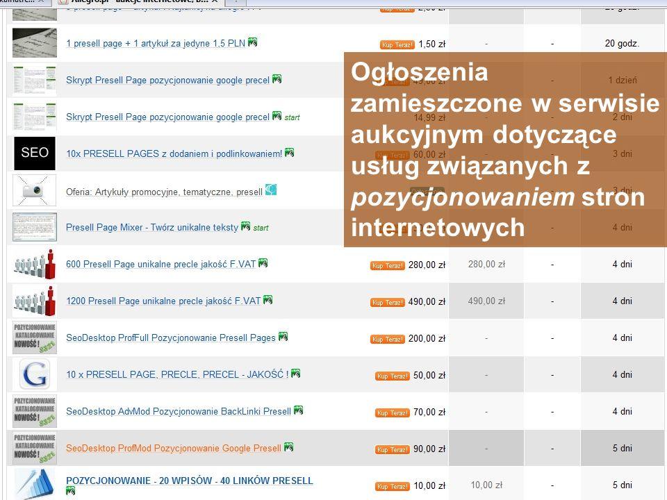 Ogłoszenia zamieszczone w serwisie aukcyjnym dotyczące usług związanych z pozycjonowaniem stron internetowych