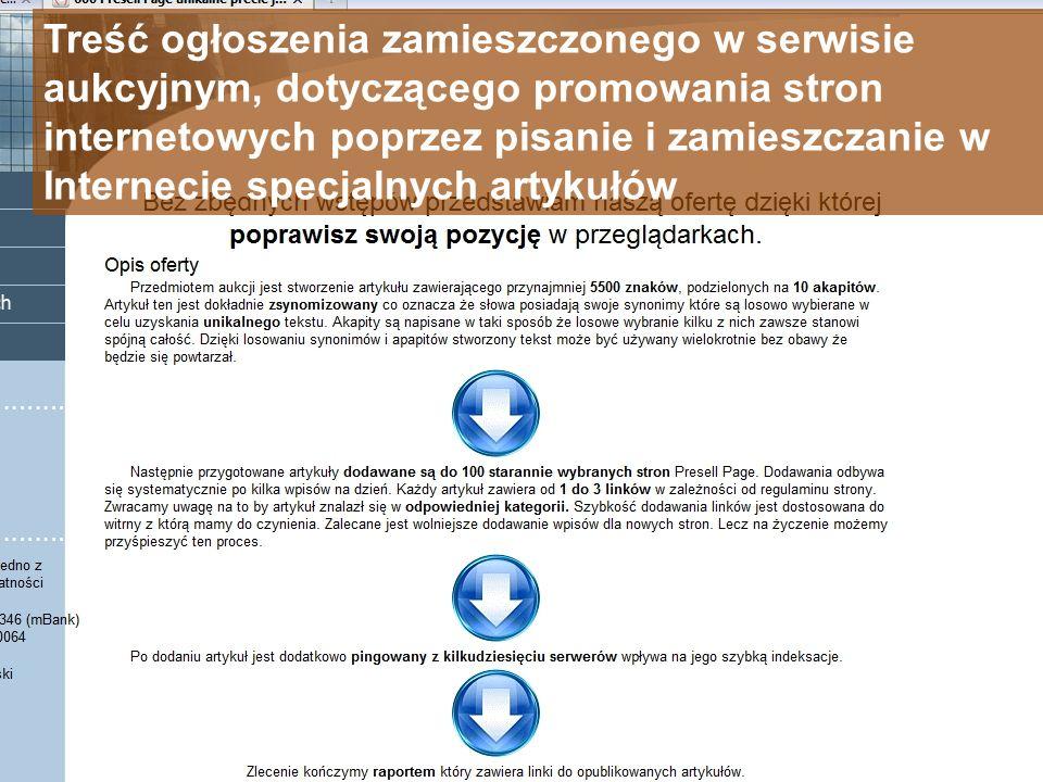 Treść ogłoszenia zamieszczonego w serwisie aukcyjnym, dotyczącego promowania stron internetowych poprzez pisanie i zamieszczanie w Internecie specjaln