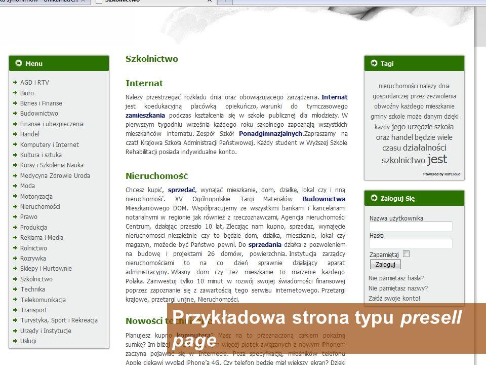 Przykładowa strona typu presell page