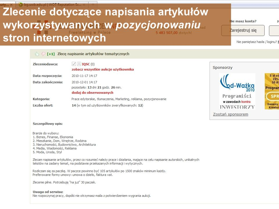 Zlecenie dotyczące napisania artykułów wykorzystywanych w pozycjonowaniu stron internetowych