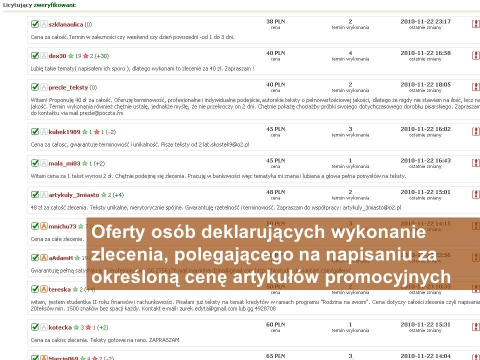 Oferty osób deklarujących wykonanie zlecenia, polegającego na napisaniu za określoną cenę artykułów promocyjnych