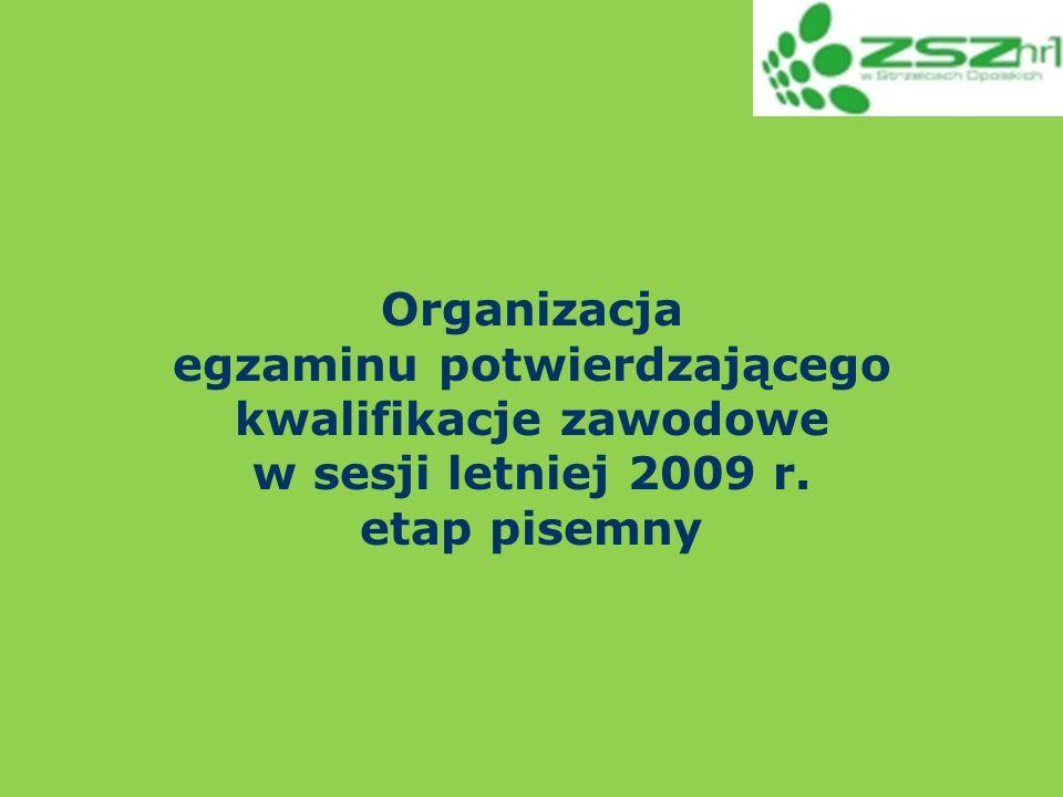 Organizacja egzaminu potwierdzającego kwalifikacje zawodowe w sesji letniej 2009 r. etap pisemny