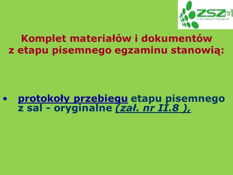 protokoły przebiegu etapu pisemnego z sal - oryginalne (zał.