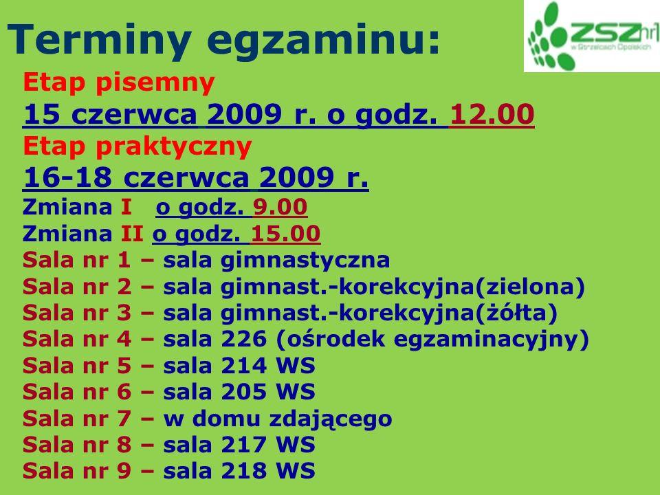 Terminy egzaminu: Etap pisemny 15 czerwca 2009 r. o godz.