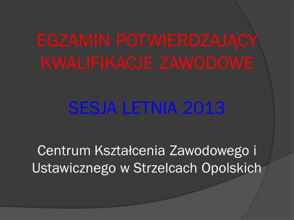 EGZAMIN POTWIERDZAJĄCY KWALIFIKACJE ZAWODOWE SESJA LETNIA 2013 Centrum Kształcenia Zawodowego i Ustawicznego w Strzelcach Opolskich