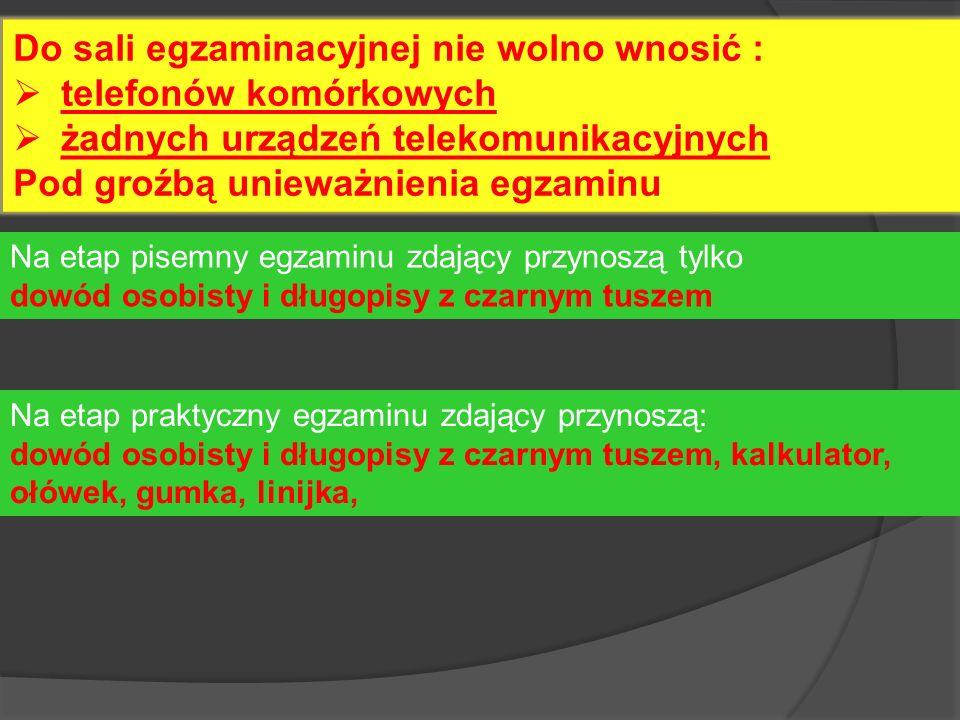 Do sali egzaminacyjnej nie wolno wnosić : telefonów komórkowych żadnych urządzeń telekomunikacyjnych Pod groźbą unieważnienia egzaminu Na etap pisemny