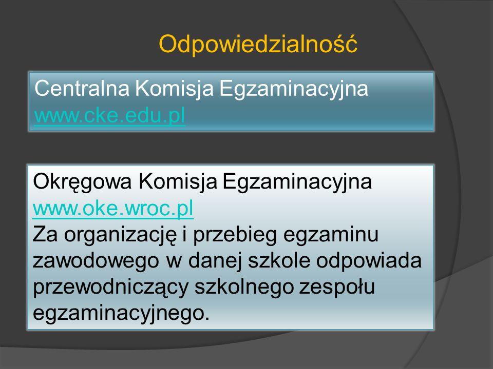Odpowiedzialność Centralna Komisja Egzaminacyjna www.cke.edu.pl Okręgowa Komisja Egzaminacyjna www.oke.wroc.pl www.oke.wroc.pl Za organizację i przebi