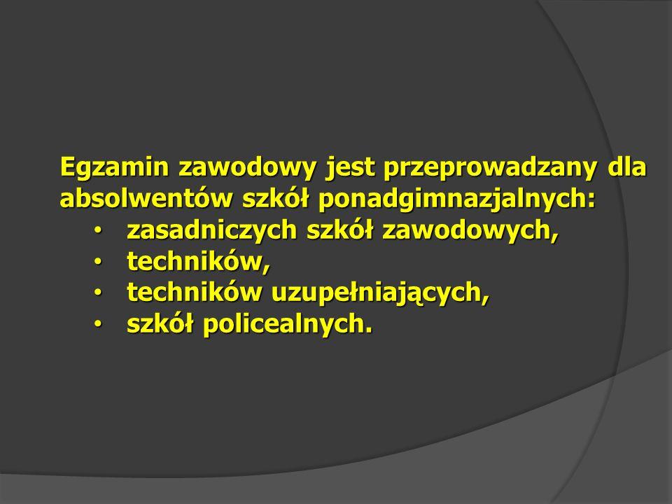 Egzamin zawodowy jest przeprowadzany jeden raz w ciągu roku szkolnego - w okresie od czerwca do sierpnia, w terminie ustalonym przez dyrektora Komisji Centralnej.