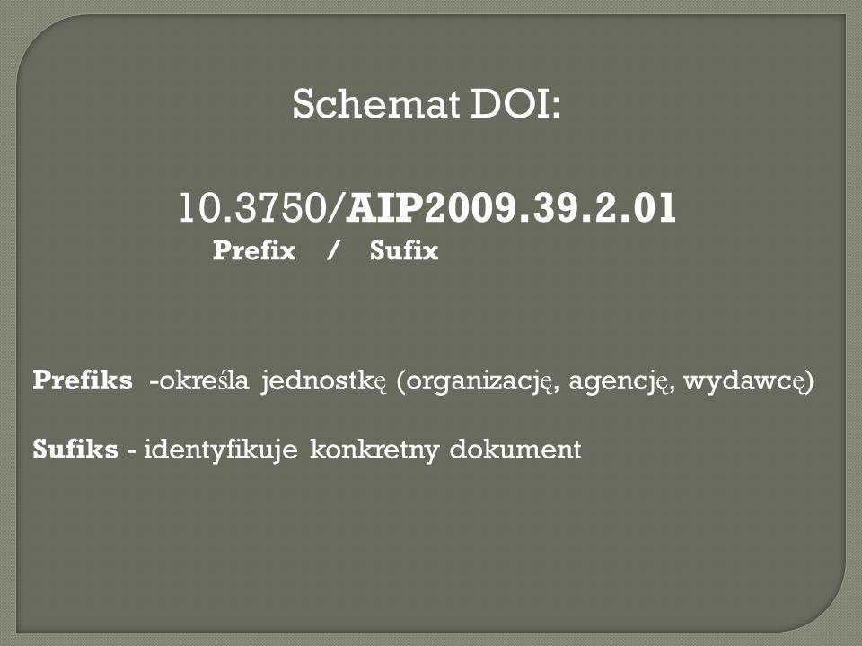 Schemat DOI: 10.3750/AIP2009.39.2.01 Prefix / Sufix Prefiks -okre ś la jednostk ę (organizacj ę, agencj ę, wydawc ę ) Sufiks - identyfikuje konkretny