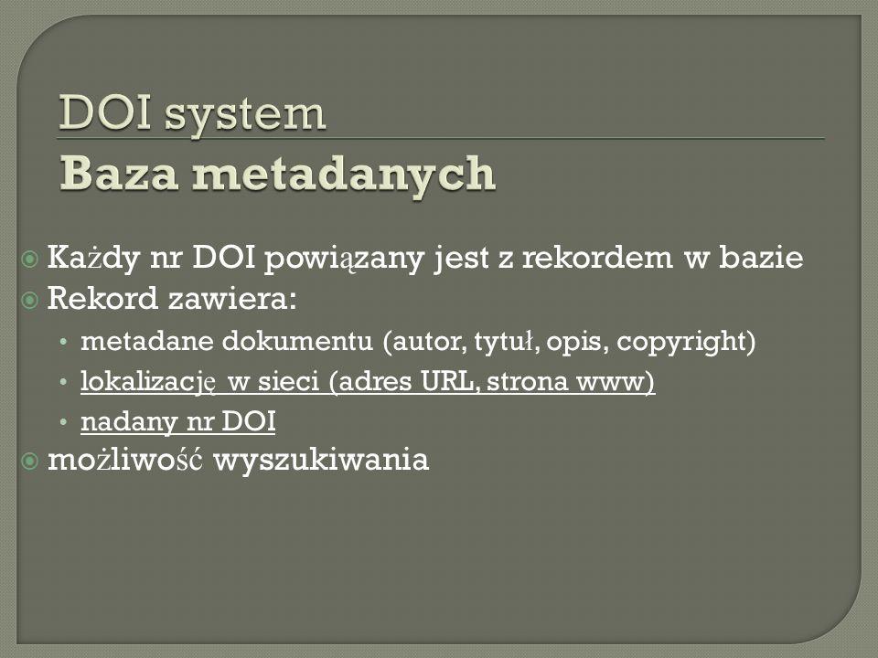 Ka ż dy nr DOI powi ą zany jest z rekordem w bazie Rekord zawiera: metadane dokumentu (autor, tytu ł, opis, copyright) lokalizacj ę w sieci (adres URL