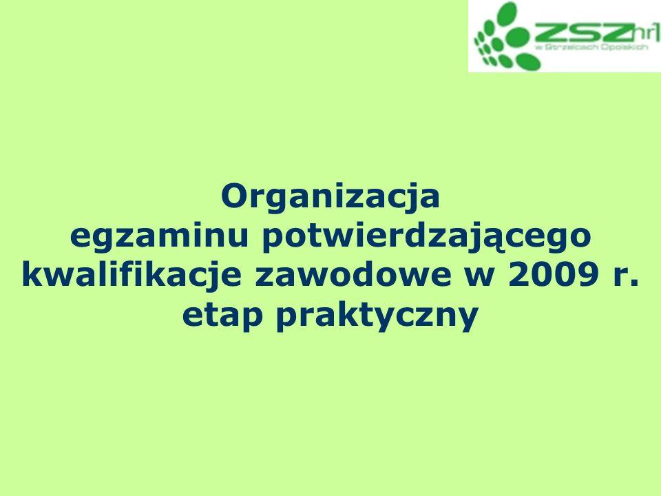 Wykaz materiałów, które otrzymuje ZNEP: Listy zdających etap praktyczny (w koszulce kartki zielone- wg zawodów/dni i zmian, druga koszulka dla zawodów z wykonaniem )