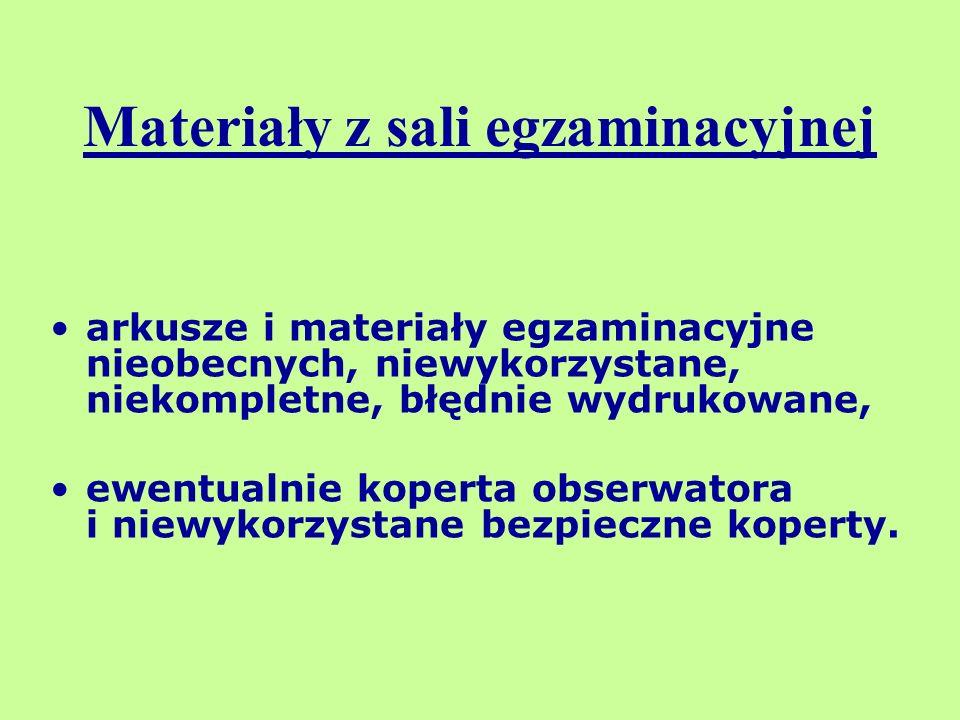 arkusze i materiały egzaminacyjne nieobecnych, niewykorzystane, niekompletne, błędnie wydrukowane, ewentualnie koperta obserwatora i niewykorzystane b