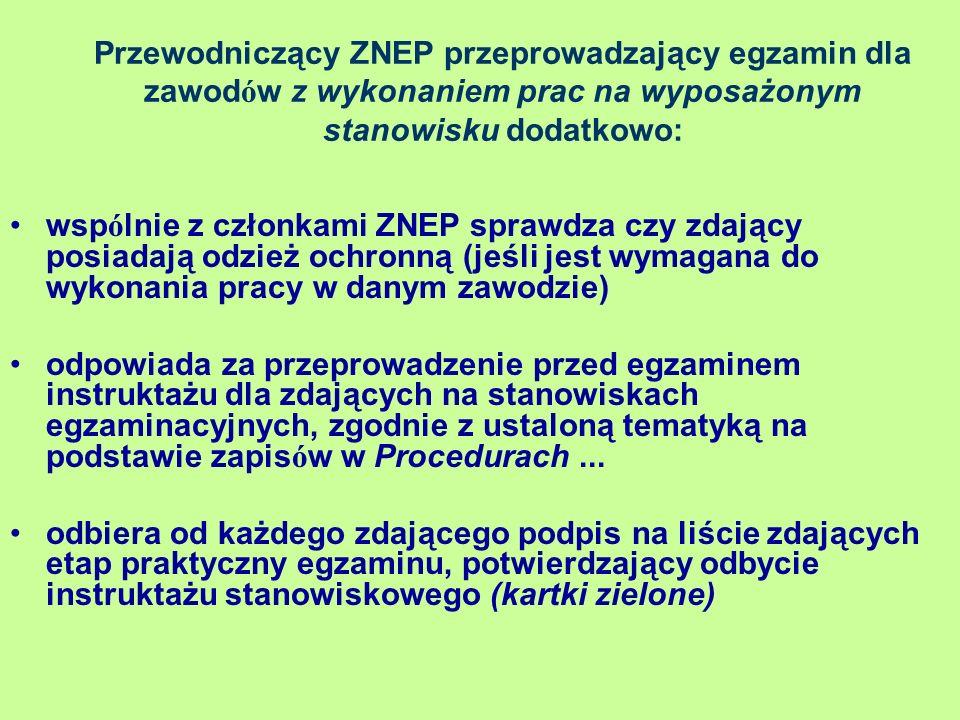 Przewodniczący ZNEP przeprowadzający egzamin dla zawod ó w z wykonaniem prac na wyposażonym stanowisku dodatkowo: wsp ó lnie z członkami ZNEP sprawdza