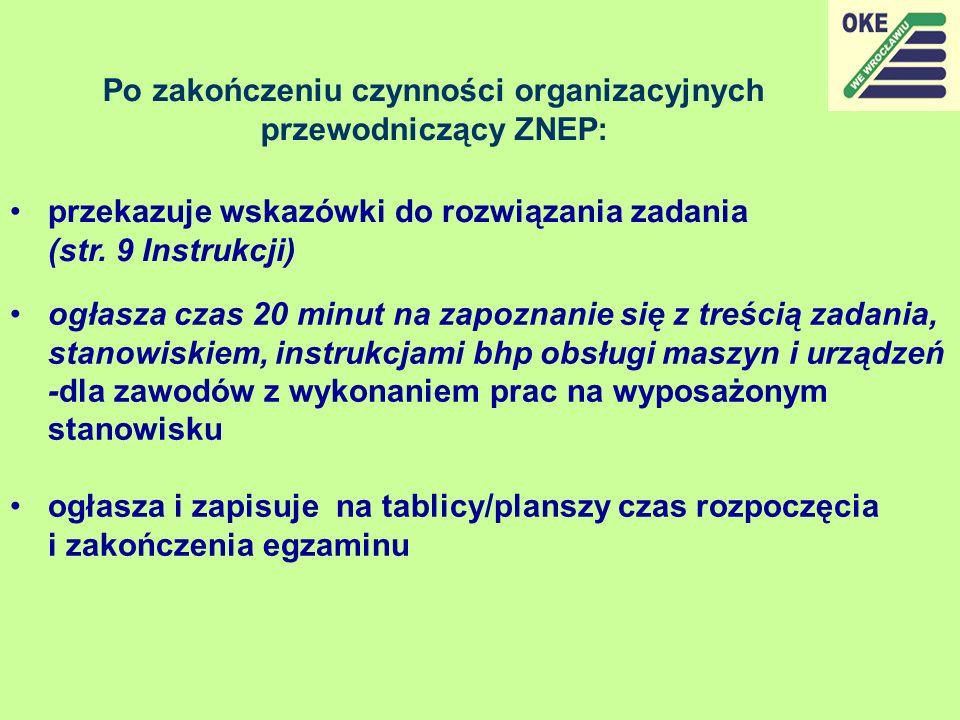 Po zakończeniu czynności organizacyjnych przewodniczący ZNEP: przekazuje wskazówki do rozwiązania zadania (str. 9 Instrukcji) ogłasza czas 20 minut na