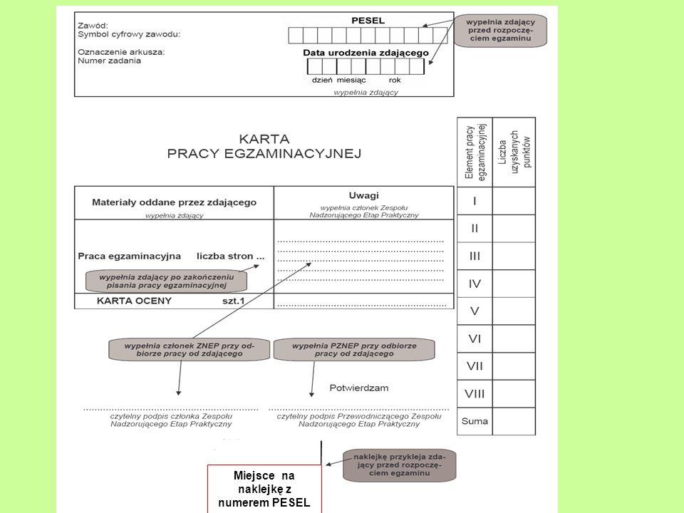 Zadania Kierownika Ośrodka Egzaminacyjnego w przeddzień egzaminu - strona 5 Instrukcji Odbiera w obecności innej osoby przesyłkę z materiałami i zabezpiecza je (wytyczne do przygotowania stanowisk przekazuje natychmiast asystentowi technicznemu) Organizuje spotkanie ZNEP Zleca przewodniczącemu sprawdzenie przygotowania stanowisk do egzaminu Zabezpiecza pomieszczenie do czasu rozpoczęcia egzaminu