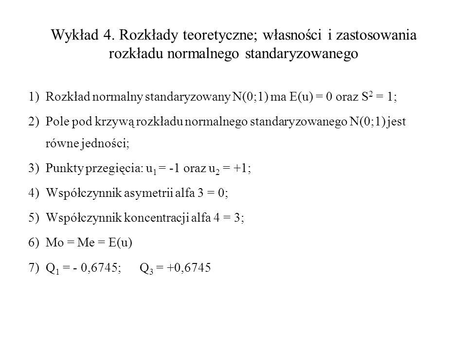 Wykład 4. Rozkłady teoretyczne; własności i zastosowania rozkładu normalnego standaryzowanego 1)Rozkład normalny standaryzowany N(0;1) ma E(u) = 0 ora