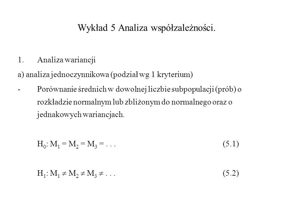 Wykład 5 Analiza współzależności. 1.Analiza wariancji a) analiza jednoczynnikowa (podział wg 1 kryterium) -Porównanie średnich w dowolnej liczbie subp