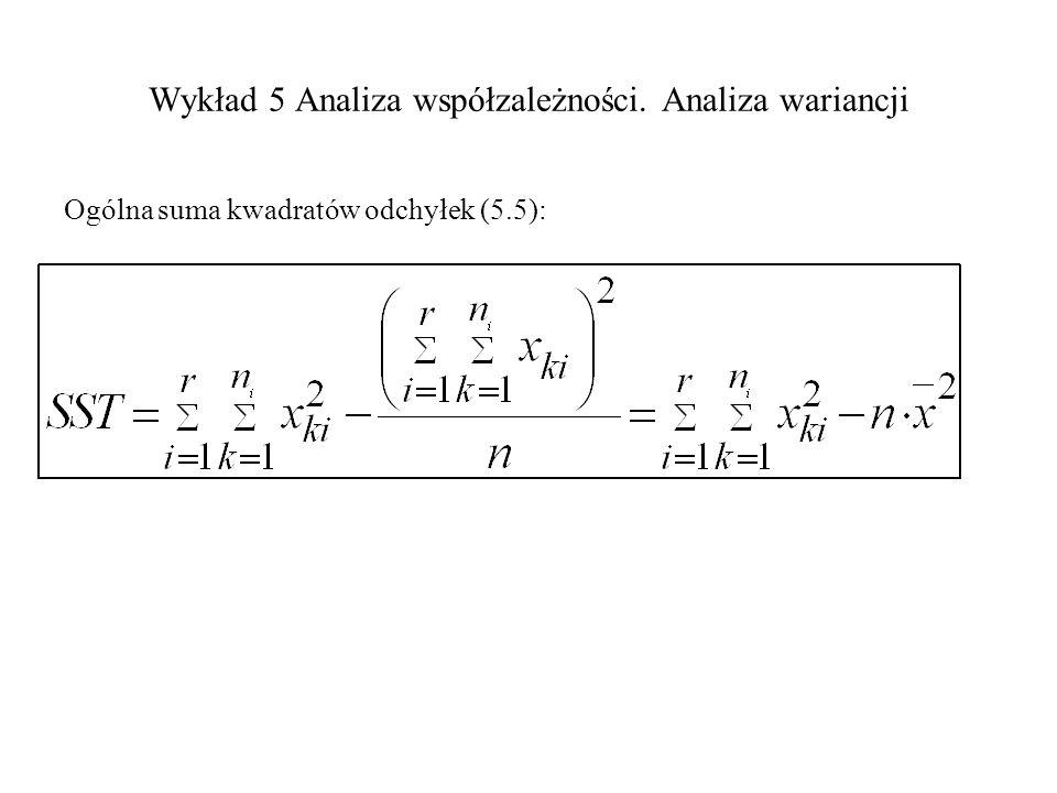 Wykład 5 Analiza współzależności. Analiza wariancji Ogólna suma kwadratów odchyłek (5.5):