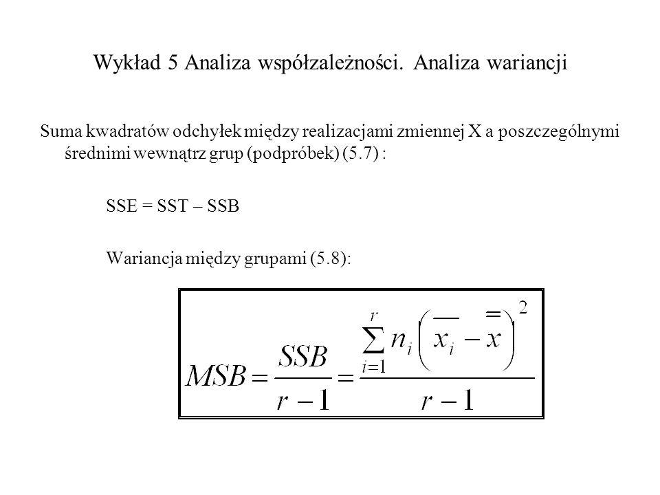 Wykład 5 Analiza współzależności. Analiza wariancji Suma kwadratów odchyłek między realizacjami zmiennej X a poszczególnymi średnimi wewnątrz grup (po