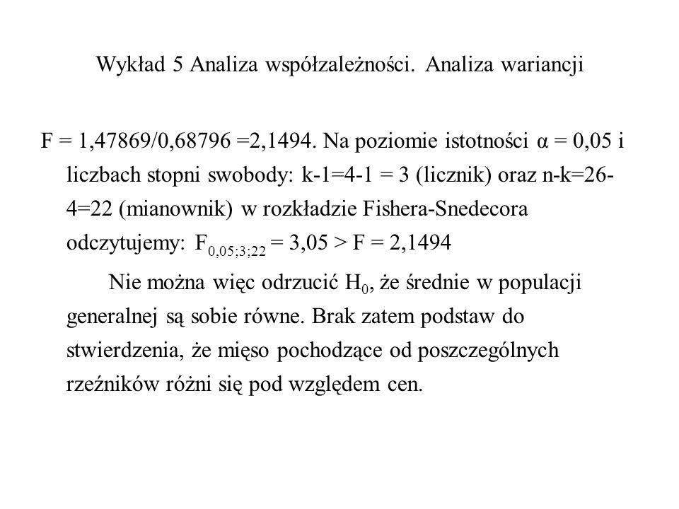 Wykład 5 Analiza współzależności. Analiza wariancji F = 1,47869/0,68796 =2,1494. Na poziomie istotności α = 0,05 i liczbach stopni swobody: k-1=4-1 =