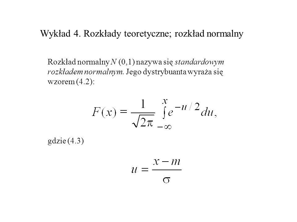Rozkład normalny N (0,1) nazywa się standardowym rozkładem normalnym. Jego dystrybuanta wyraża się wzorem (4.2): gdzie (4.3)