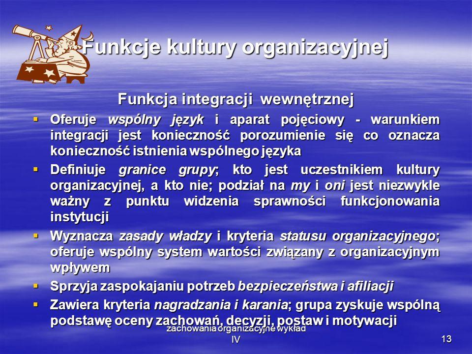 zachowania organizacyjne wykład IV13 Funkcje kultury organizacyjnej Funkcja integracji wewnętrznej Oferuje wspólny język i aparat pojęciowy - warunkie