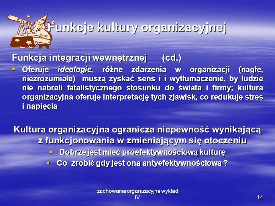 zachowania organizacyjne wykład IV14 Funkcje kultury organizacyjnej Funkcja integracji wewnętrznej (cd.) Oferuje ideologie, różne zdarzenia w organiza