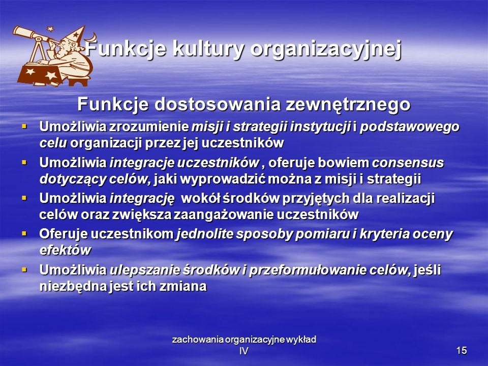 zachowania organizacyjne wykład IV15 Funkcje kultury organizacyjnej Funkcje dostosowania zewnętrznego Umożliwia zrozumienie misji i strategii instytuc
