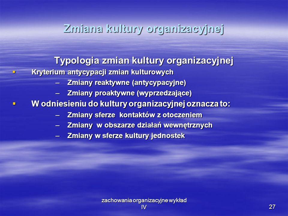 zachowania organizacyjne wykład IV27 Zmiana kultury organizacyjnej Typologia zmian kultury organizacyjnej Kryterium antycypacji zmian kulturowych Kryt