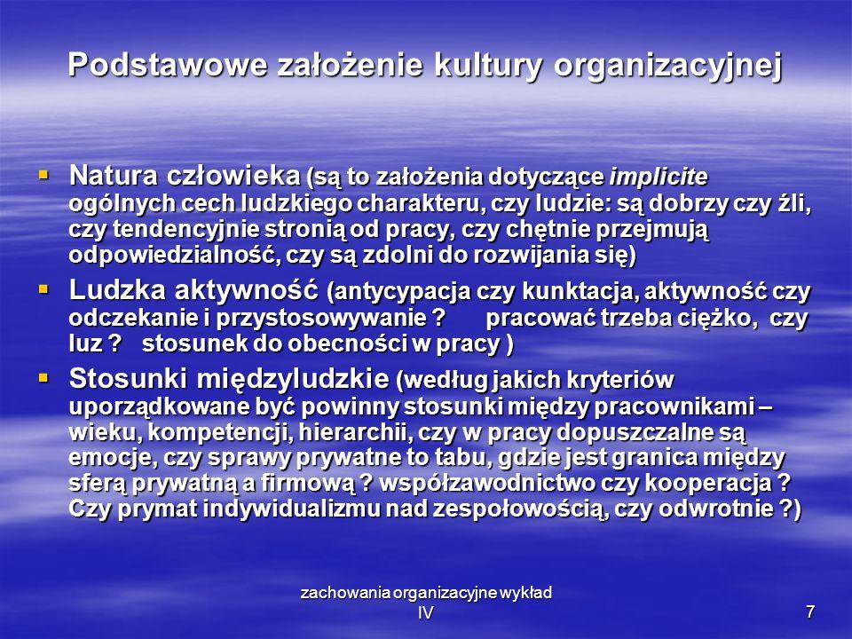zachowania organizacyjne wykład IV7 Podstawowe założenie kultury organizacyjnej Natura człowieka (są to założenia dotyczące implicite ogólnych cech lu