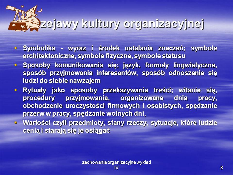 zachowania organizacyjne wykład IV8 Przejawy kultury organizacyjnej Symbolika - wyraz i środek ustalania znaczeń; symbole architektoniczne, symbole fi
