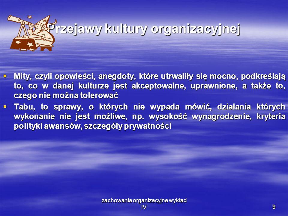 zachowania organizacyjne wykład IV9 Przejawy kultury organizacyjnej Mity, czyli opowieści, anegdoty, które utrwaliły się mocno, podkreślają to, co w d