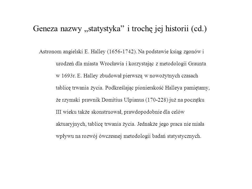 Geneza nazwy statystyka i trochę jej historii (cd.) Astronom angielski E. Halley (1656-1742). Na podstawie ksiąg zgonów i urodzeń dla miasta Wrocławia
