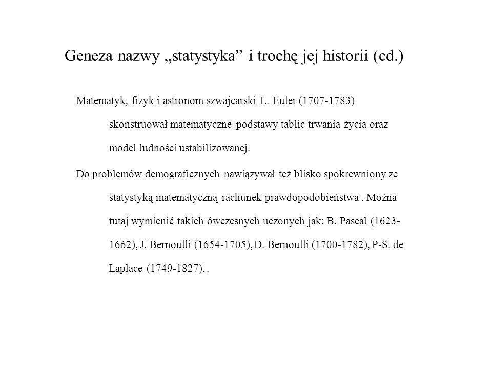 Geneza nazwy statystyka i trochę jej historii (cd.) Matematyk, fizyk i astronom szwajcarski L. Euler (1707-1783) skonstruował matematyczne podstawy ta