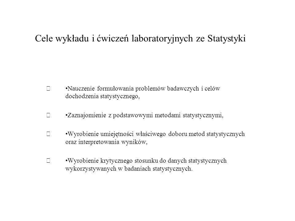 Cele wykładu i ćwiczeń laboratoryjnych ze Statystyki Nauczenie formułowania problemów badawczych i celów dochodzenia statystycznego, Zaznajomienie z p