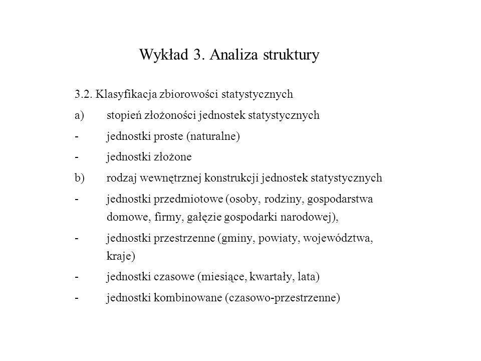 Wykład 3. Analiza struktury 3.2. Klasyfikacja zbiorowości statystycznych a)stopień złożoności jednostek statystycznych -jednostki proste (naturalne) -