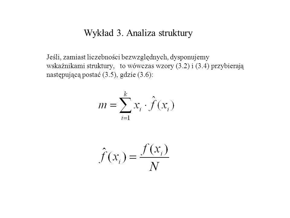 Wykład 3. Analiza struktury Jeśli, zamiast liczebności bezwzględnych, dysponujemy wskaźnikami struktury, to wówczas wzory (3.2) i (3.4) przybierają na