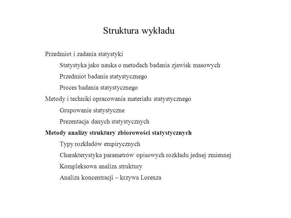 Wykład 3. Analiza struktury. 3.6. Miary asymetrii Wskaźnik asymetrii oparty na kwartylach