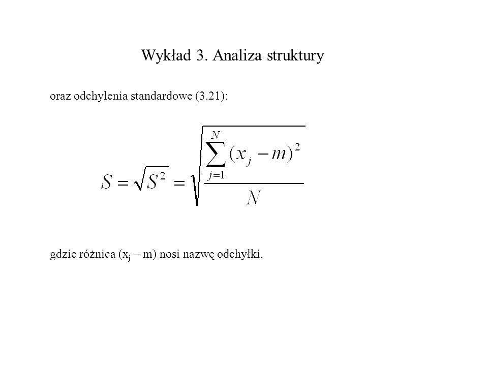 Wykład 3. Analiza struktury oraz odchylenia standardowe (3.21): gdzie różnica (x j – m) nosi nazwę odchyłki.