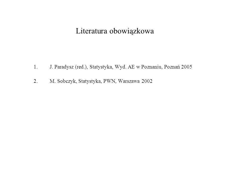 Literatura obowiązkowa 1.J. Paradysz (red.), Statystyka, Wyd. AE w Poznaniu, Poznań 2005 2.M. Sobczyk, Statystyka, PWN, Warszawa 2002