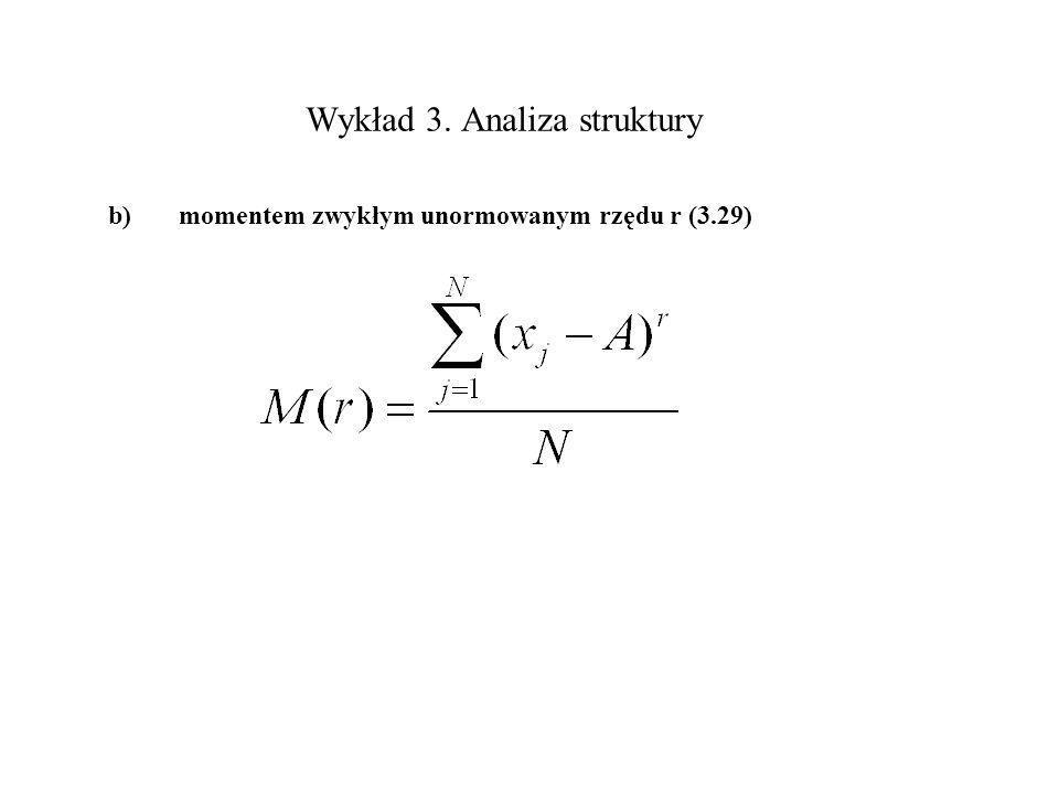 Wykład 3. Analiza struktury b)momentem zwykłym unormowanym rzędu r (3.29)