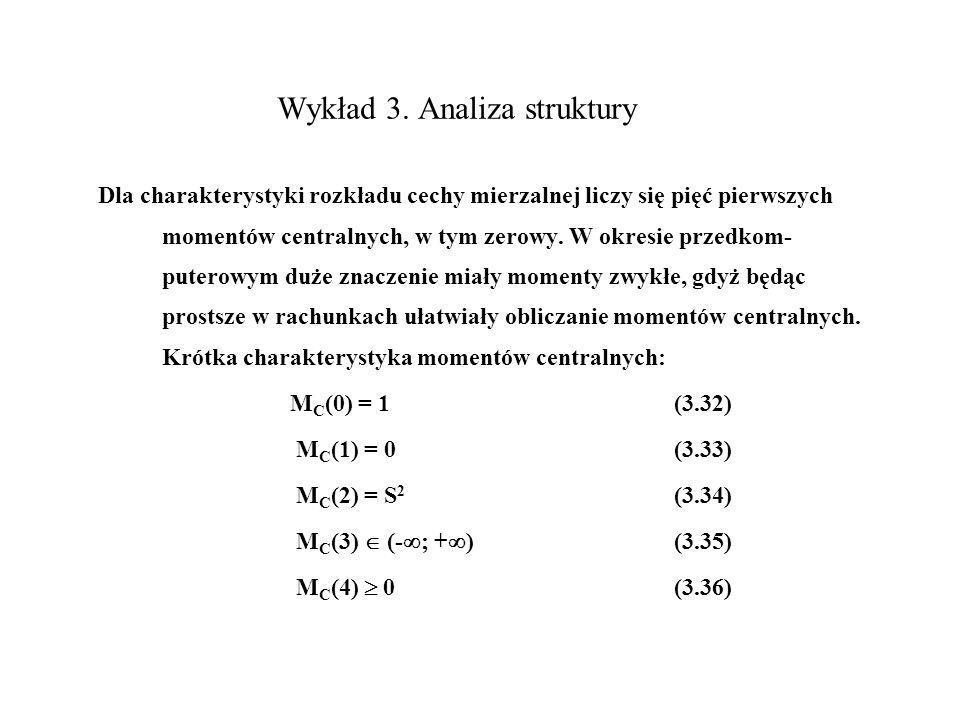 Wykład 3. Analiza struktury Dla charakterystyki rozkładu cechy mierzalnej liczy się pięć pierwszych momentów centralnych, w tym zerowy. W okresie prze